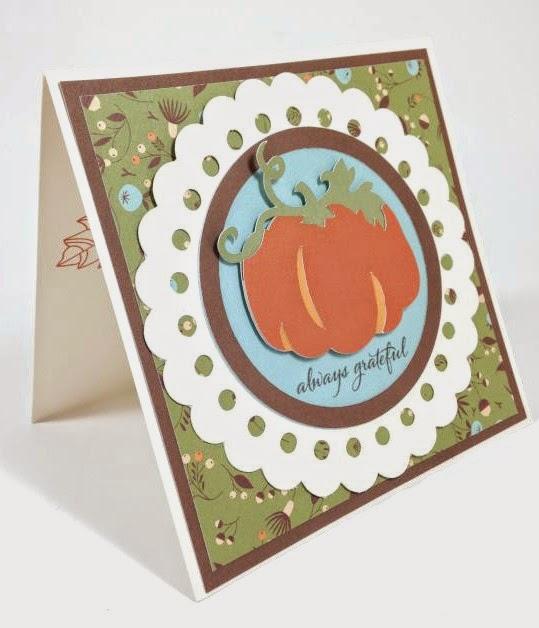 Close To My Heart Art Philosophy Cricut cartridge Always Grateful Pumpkin card sideview
