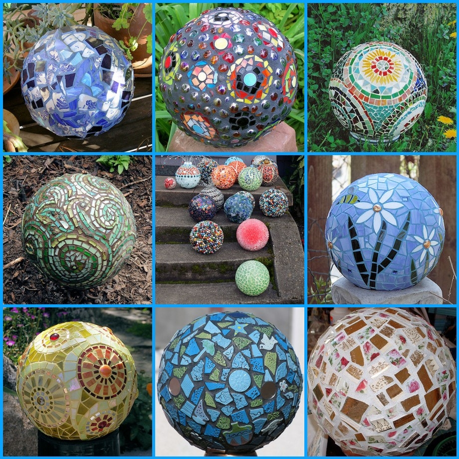 Upcycled Bowling Ball Yard Art - Fin de Semana Yard Serie de Trabajo - Little Vintage Cottage