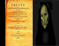 (c)Erika Grey, Covenant of death-Agreement With Hell graphic which shows an actual treaty on the left which reads Treaty across the top and below states a covenant with death, and signed by Hell at the bottom.  A depiction of the angel of death stands to the right of the treaty and you see the angel of death's green ghastly shrouded face.