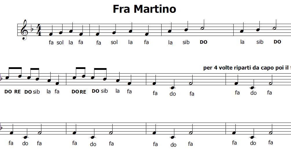 Musica e spartiti gratis per flauto dolce fra martino il