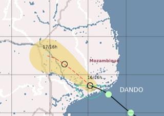 Tropisches Tief DANDO zieht nach Mosambik