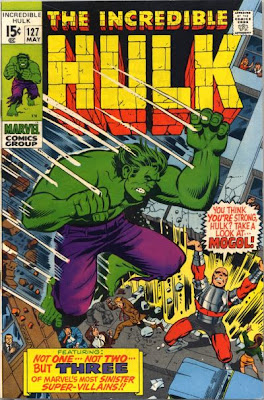 Incredible Hulk #127, In his first appearance, Tyrannus robot Mogol lifts a building ready to throw it at the Hulk who is leaping down to fight him, Herb Trimpe
