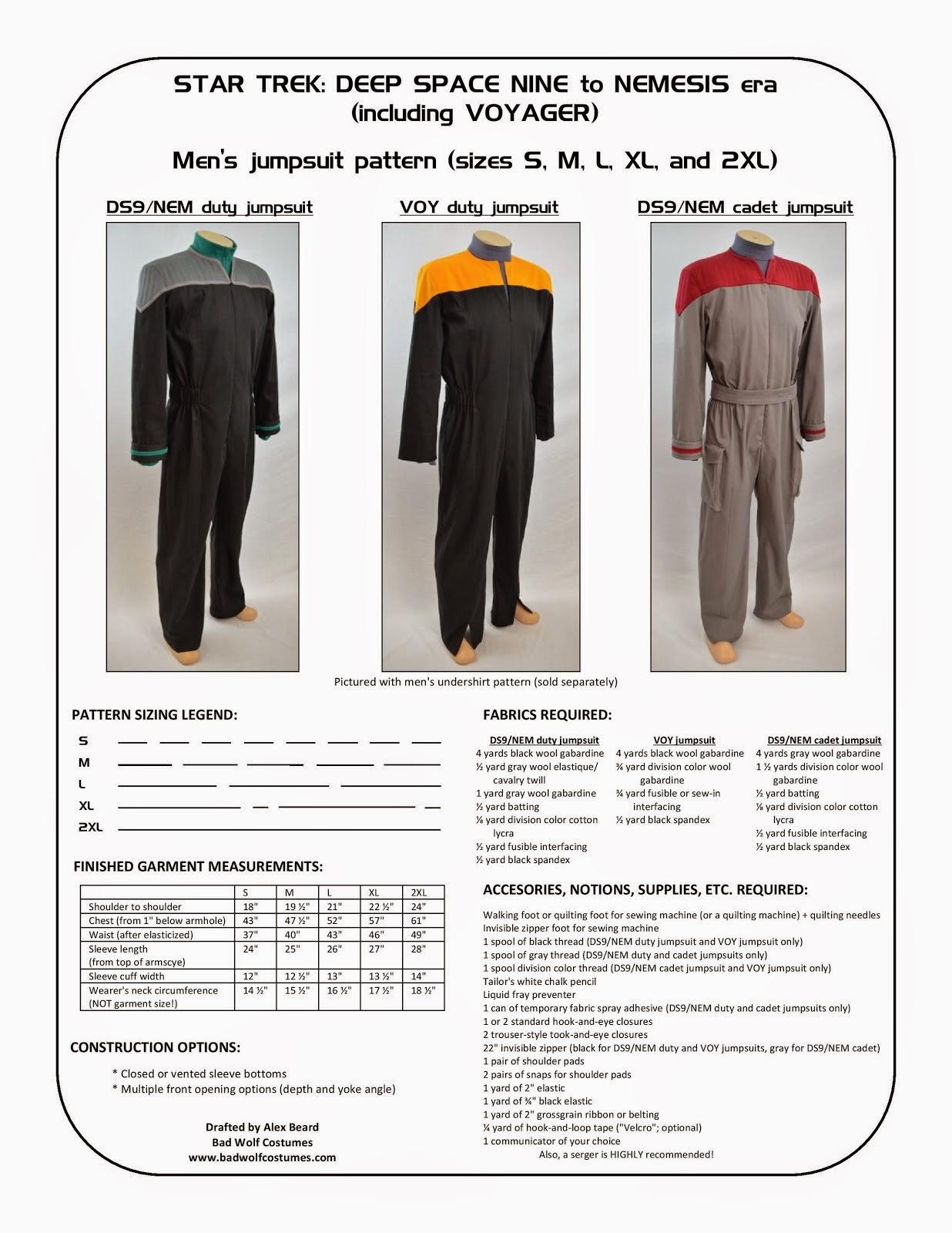 Star Trek: DS9/NEM and VOY Men's Jumpsuit Sewing Pattern