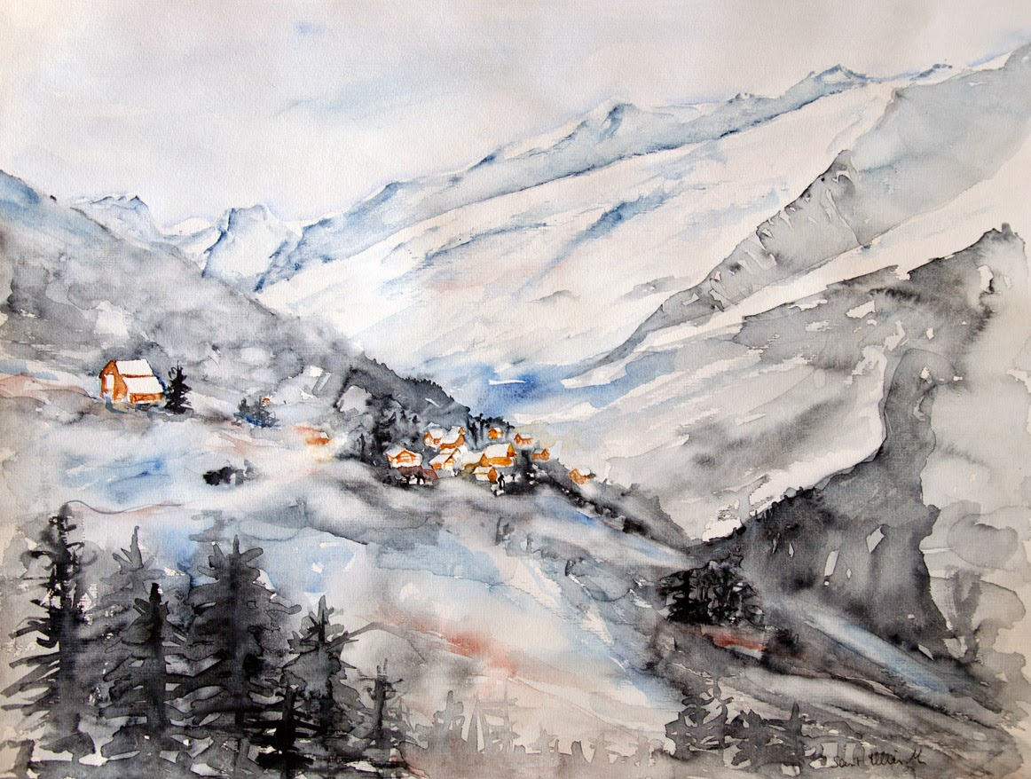 watercolor Alpes