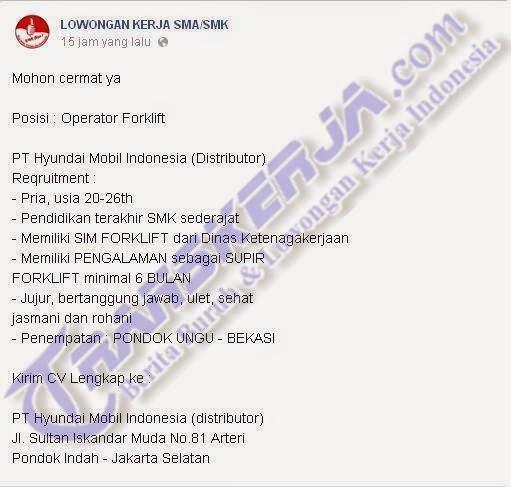 Lowongan Kerja Operator Forklift Laki - Laki Usia 20-26 Tahun Pendidikan SMK atau Sederajat di PT Hyundai Mobil Indonesia (Distributor) Pondok Indah Jakarta Selatan