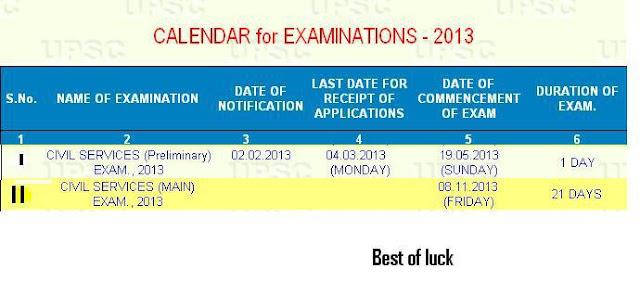civil services Examinations 2013 Syllabus Calendar & Notification