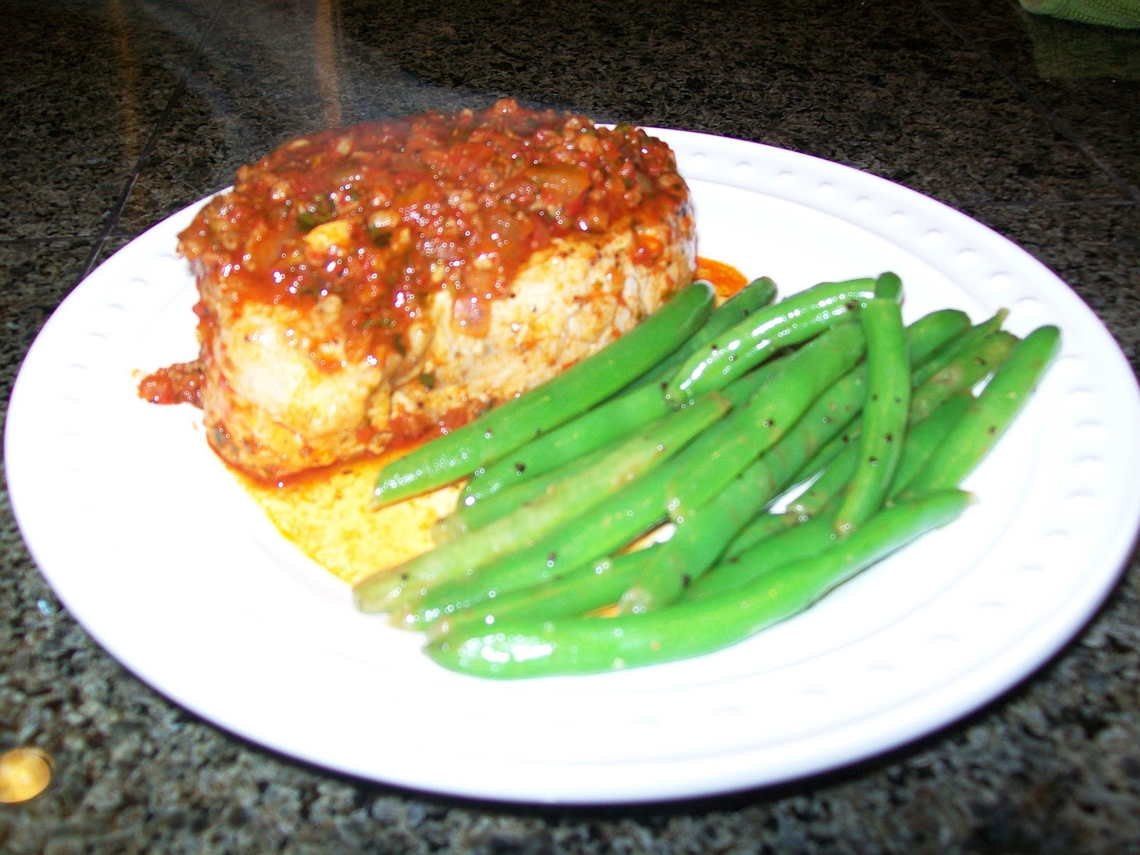 ... Pork Chops with Chorizo and Roasted Red Pepper Sauce and Green Beans