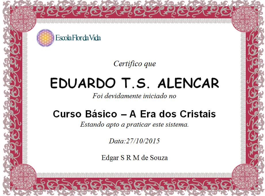 """Certificado: """"A era dos cristais"""""""
