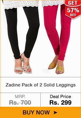 Buy Zadine Pack of 2 Solid Leggings at Rs. 299 + 15% off for ICICI, HDFC, AXIS + Rs 750  Voucher at Dhamaal.com
