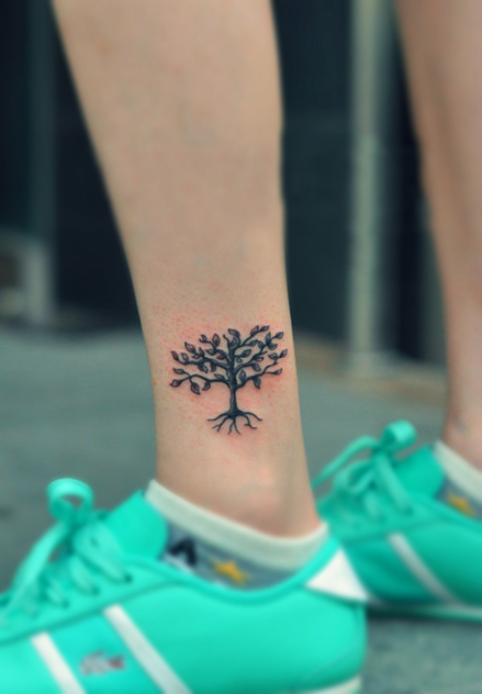 tree tattoo on the ankle