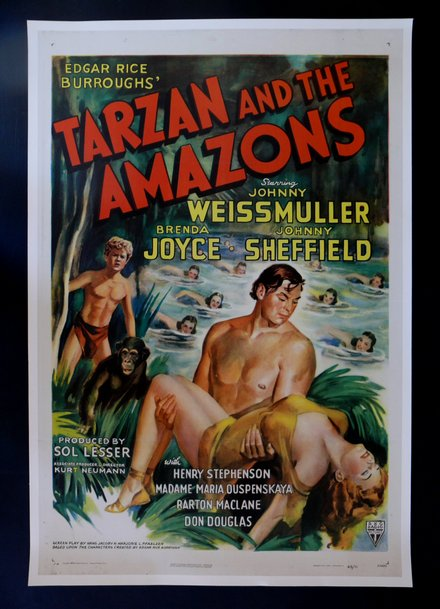 free printable, printable, classic posters, free download, graphic design, movies, retro prints, theater, vintage, vintage posters, Tarzan and the Amazons, Johnny Weissmuller - Vintage Movie Poster