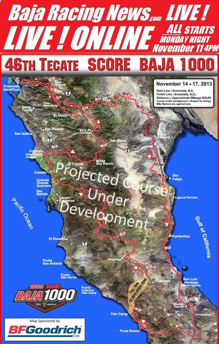 Baja 1000 course map