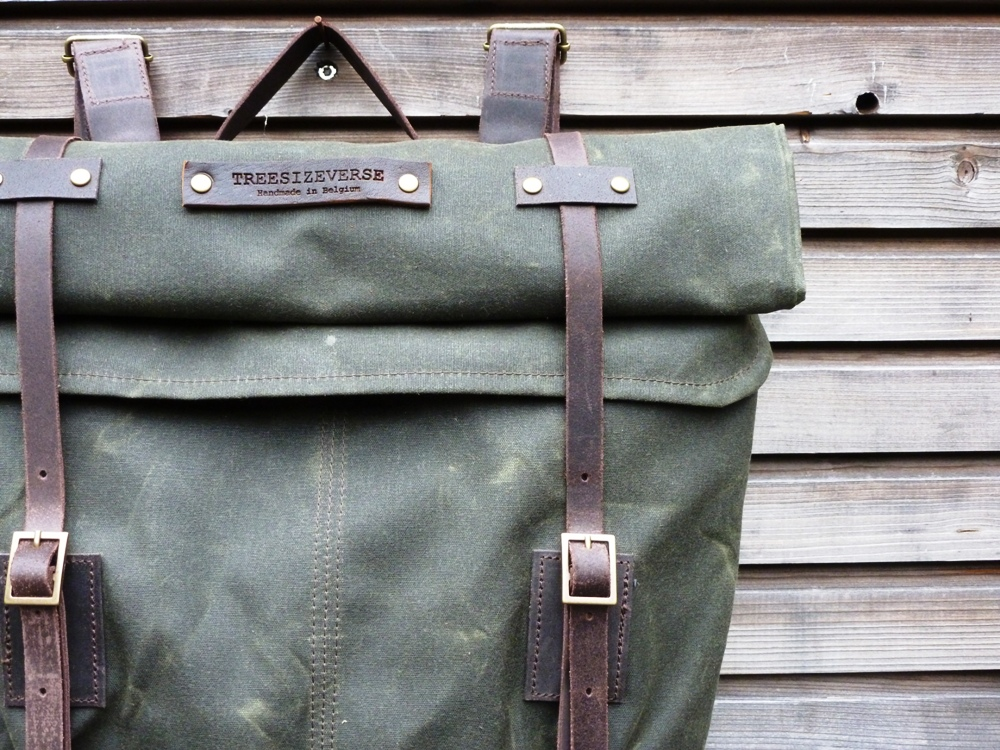 treesizeverse waxed canvas rucksack backpack with roll up. Black Bedroom Furniture Sets. Home Design Ideas