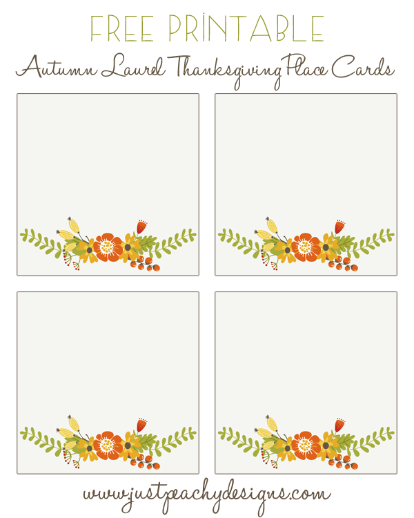 free Thanksgiving printable place cards