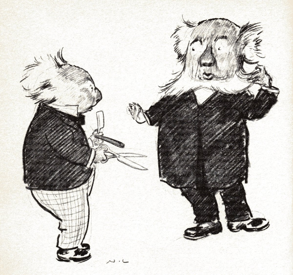 illustration of two anthropomorphic koala bears, one with scissors
