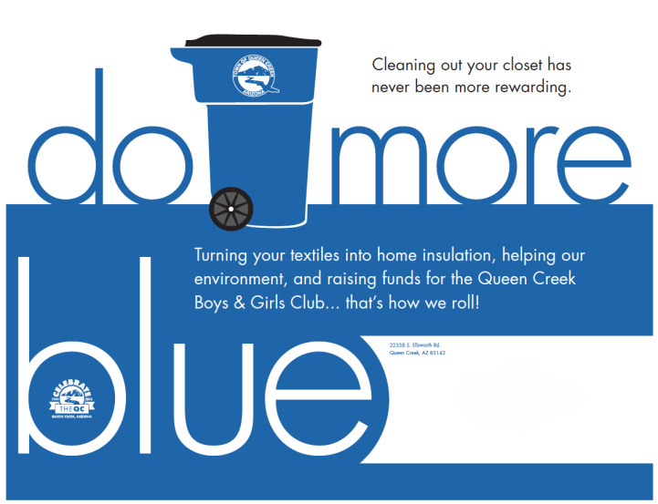 Do More Blue initiative logo. Features bold lettering and a city recycling bin.
