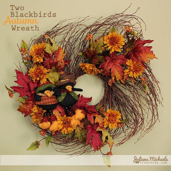 2 Blackbirds Autumn Wreath by Juliana Michaels