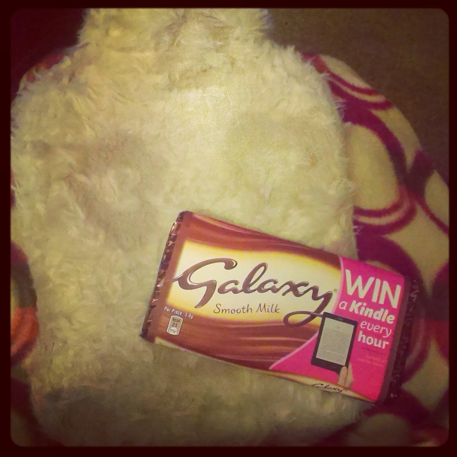 Galaxy bar and hot water bottle
