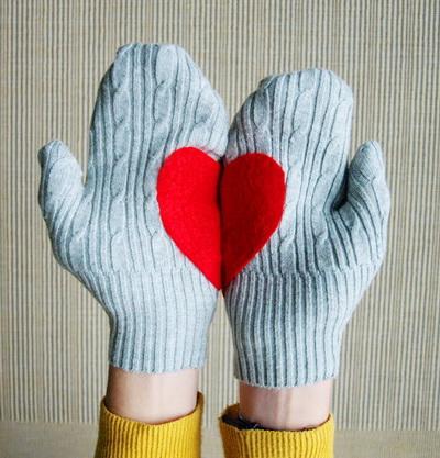 Варежки с сердцем своими руками