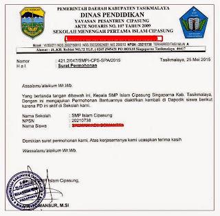 Contoh surat permohonan claim siswa
