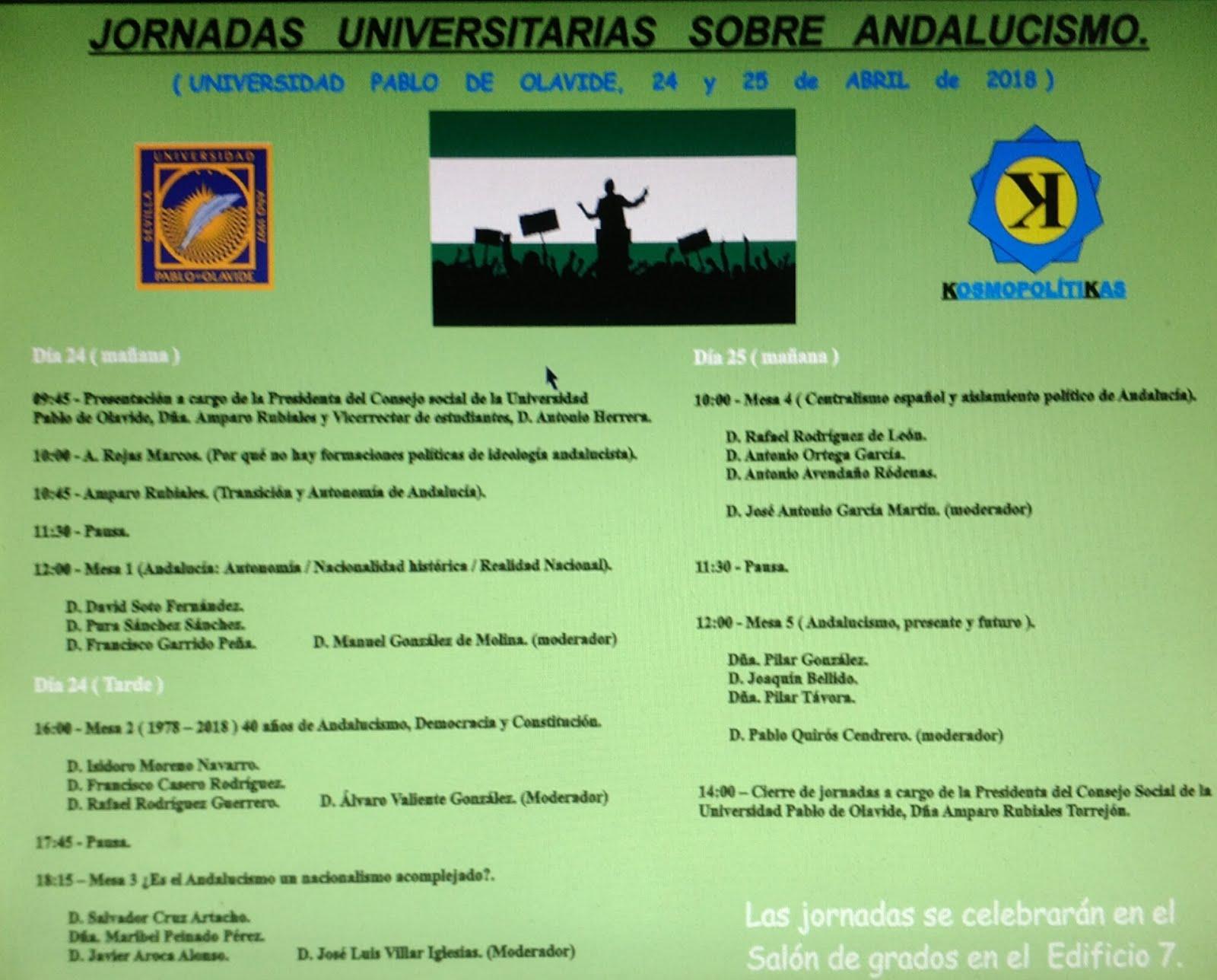 JORNADAS SOBRE ANDALUCISMO EN LA UPO (Salón de grados.Edificio 7).