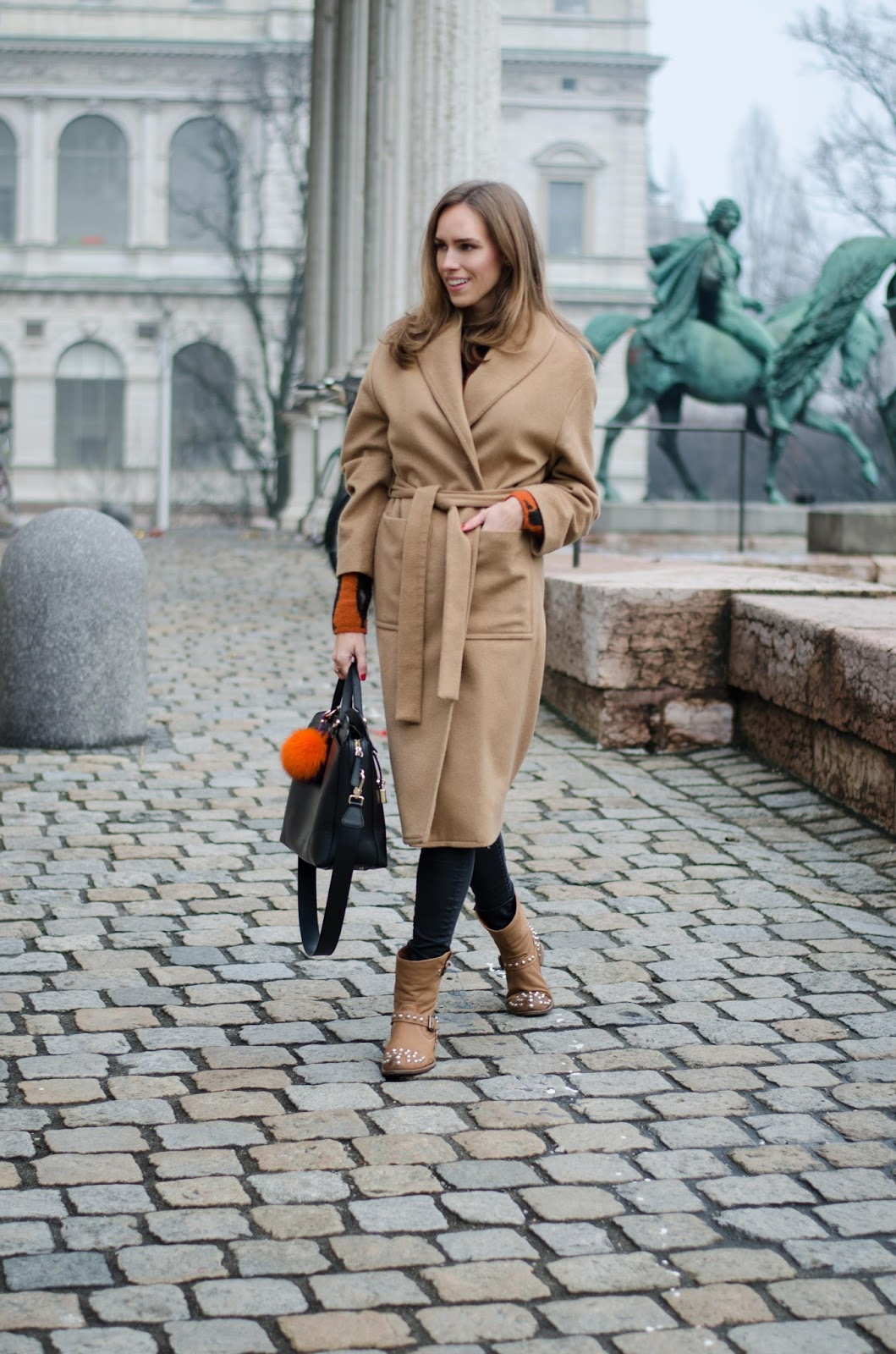 kristjaana mere camel coat studded ankle boots casual winter fashion