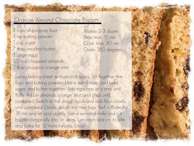 Beauty Begins with Biscotti: Orange Almond Chocolate Biscotti
