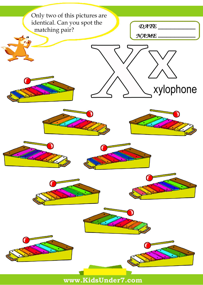 is for Xylophone. 2.Find and circle two identical xylophones.
