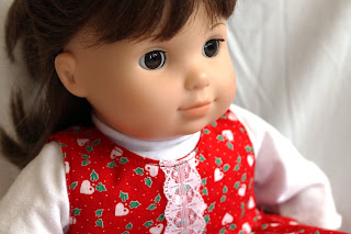 doll jumper Christmas hearts and holly red white green lace shirt