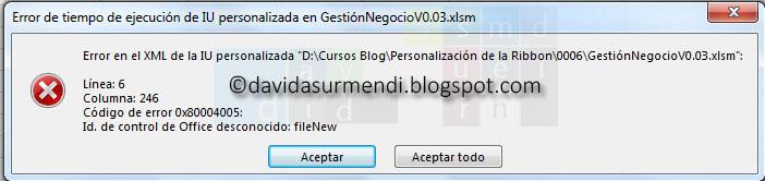 Error en tiempo de ejecución de IU personalizada