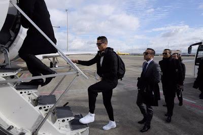 Cristiano Ronaldo Flies Private Jet To Zurich For The FIFA Ballon d'Or Gala. Photos