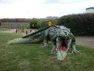 A BIG Crocodile, or Alligator, at Fort Fun Adventure Golf Course in Eastbourne