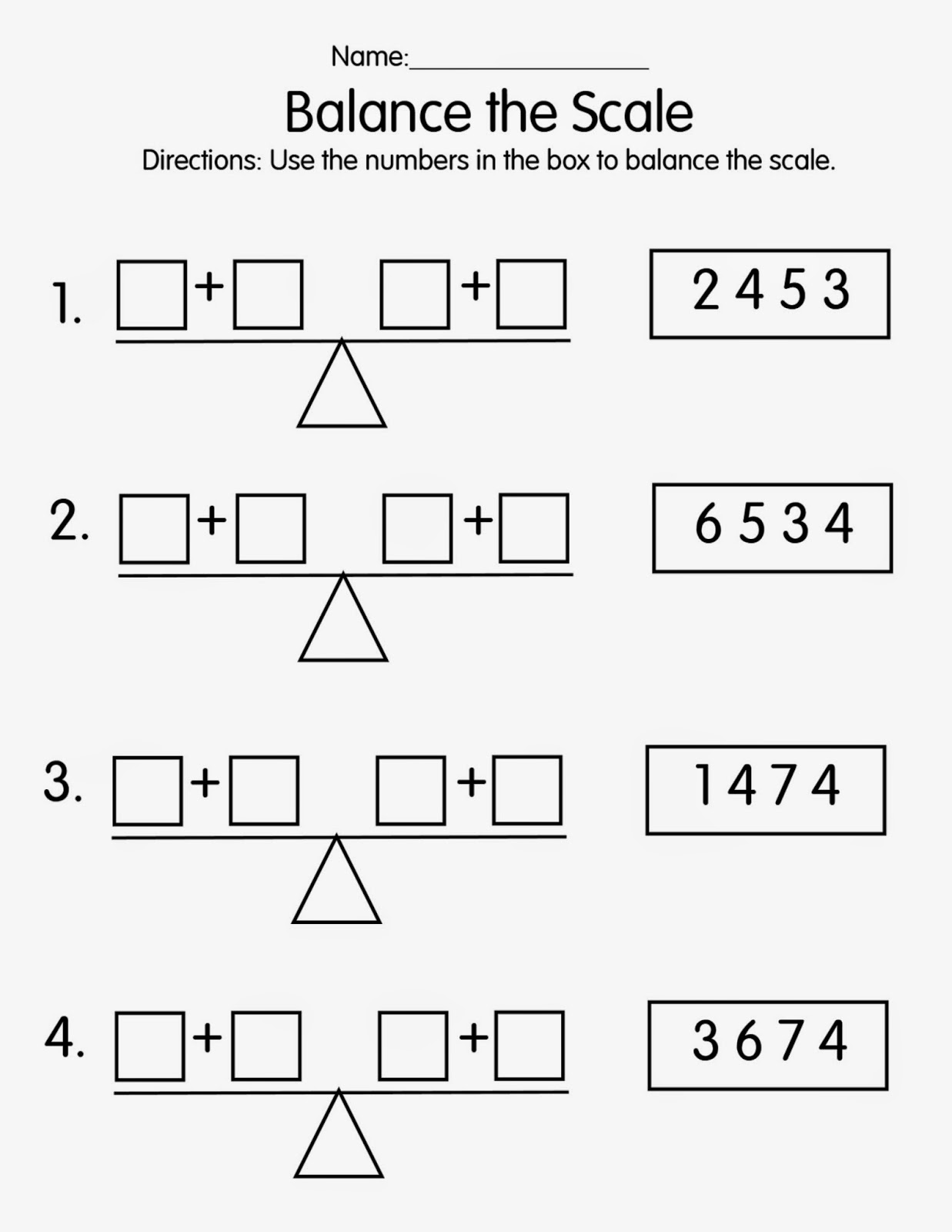 Use the numbers in the box to make both sides of the scale equal. For ...