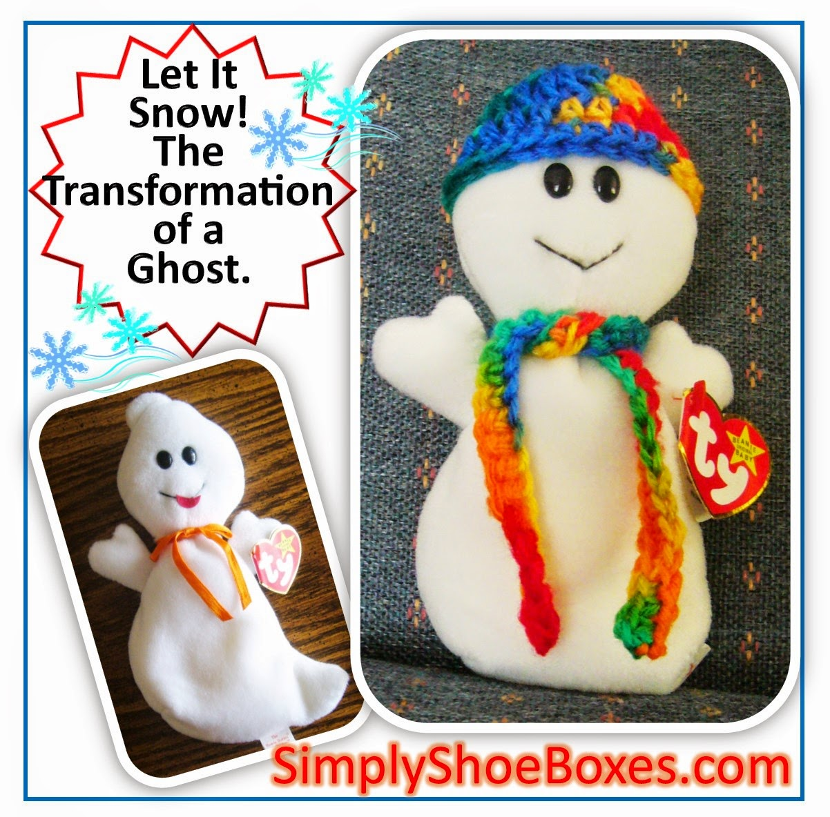 Beanie Baby ghost to snowman for Operation Christmas Child