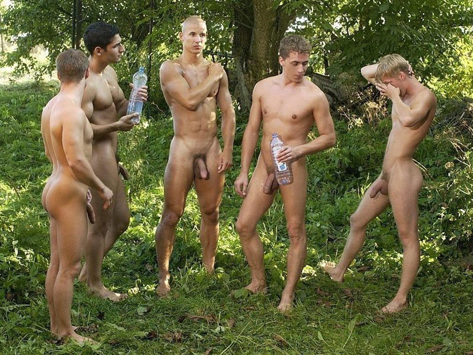 All the men stripped naked