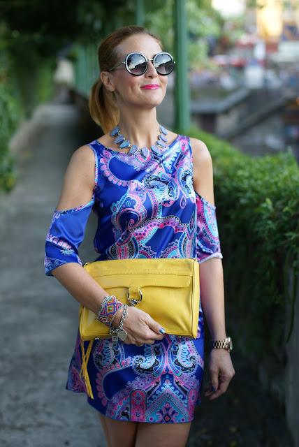 satin mini dress, nina ademar dress, paisley dress, Fashion and Cookies, fashion blogger