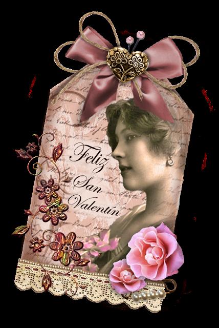 tag de scrapbooking para San Valentin con dama vintage, flores y adornos
