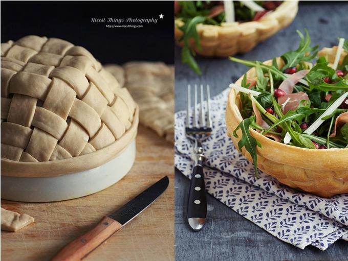 Pastry Salad Bowls, essbare Schalen aus Teig flechten, Brotschalen, essbare Salatschüssel aus Brot