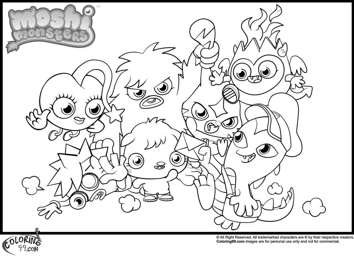 moshi monsters coloring pages
