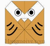 Bước 6: Vẽ mắt để hoàn thành cách xếp con chim cú mèo bằng giấy đơn giản.