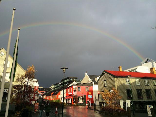 iceland, reykjavik, travelling, rainbow