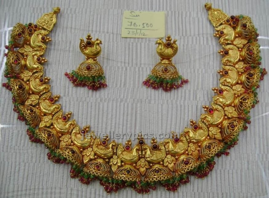 antique peacock necklace set with half jhumka