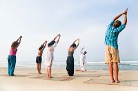 in a yoga class