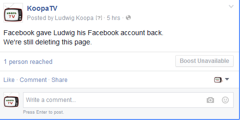 KoopaTV Facebook page delete unpublish