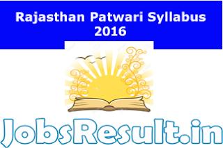 Rajasthan Patwari Syllabus 2016
