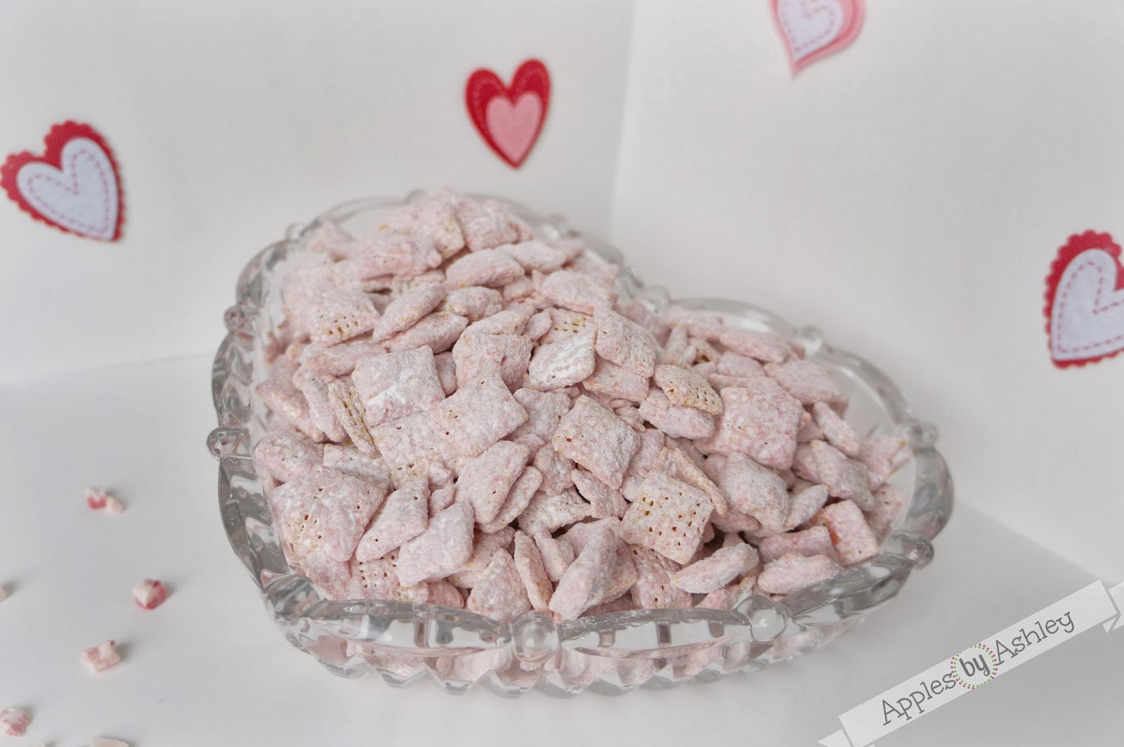 Valentines Day Peppermint Crunch Puppy Chow