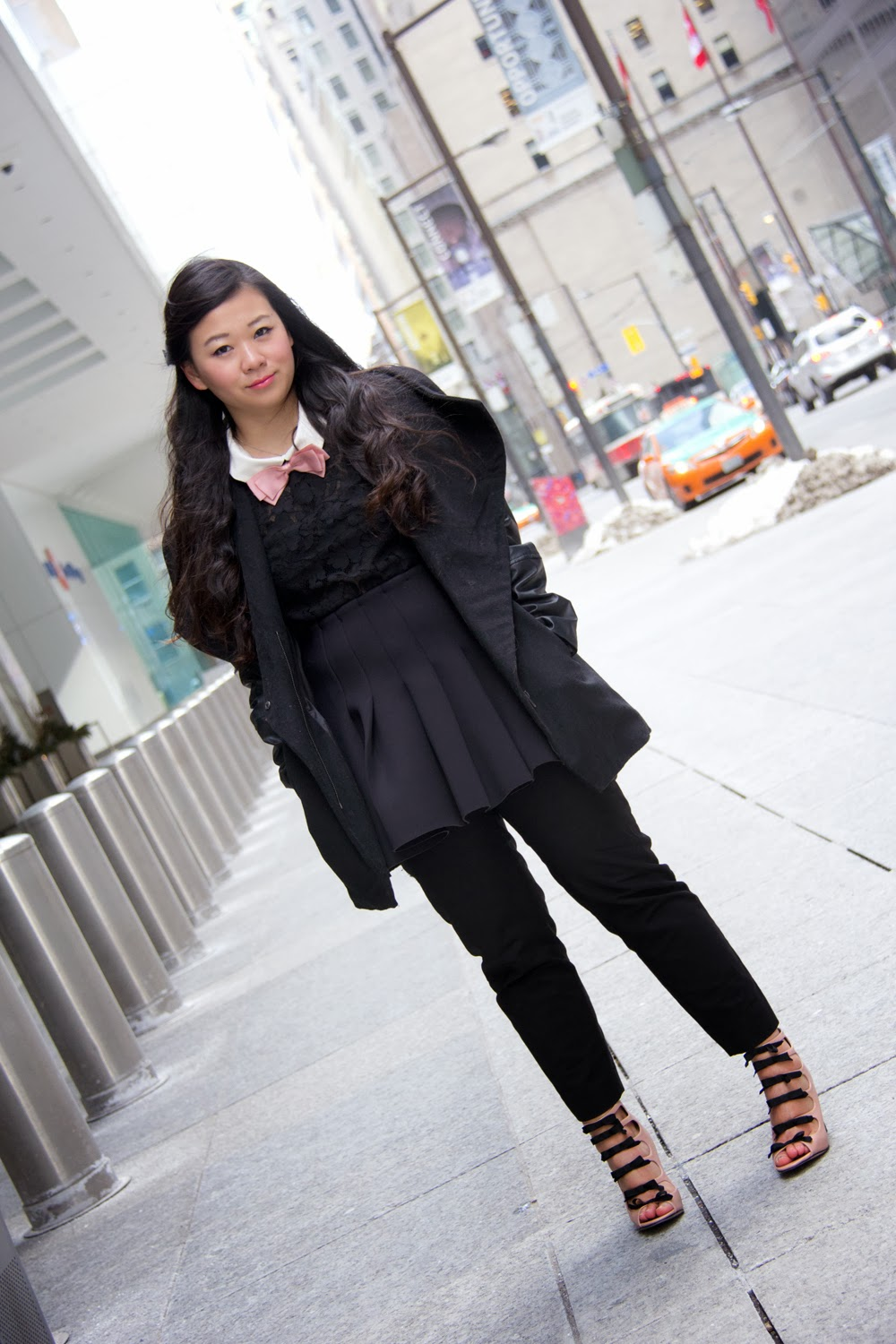 Black-Faux-Leather-Sleeve-Coat, Skirt-on-pants, Black-on-black, Street-Style