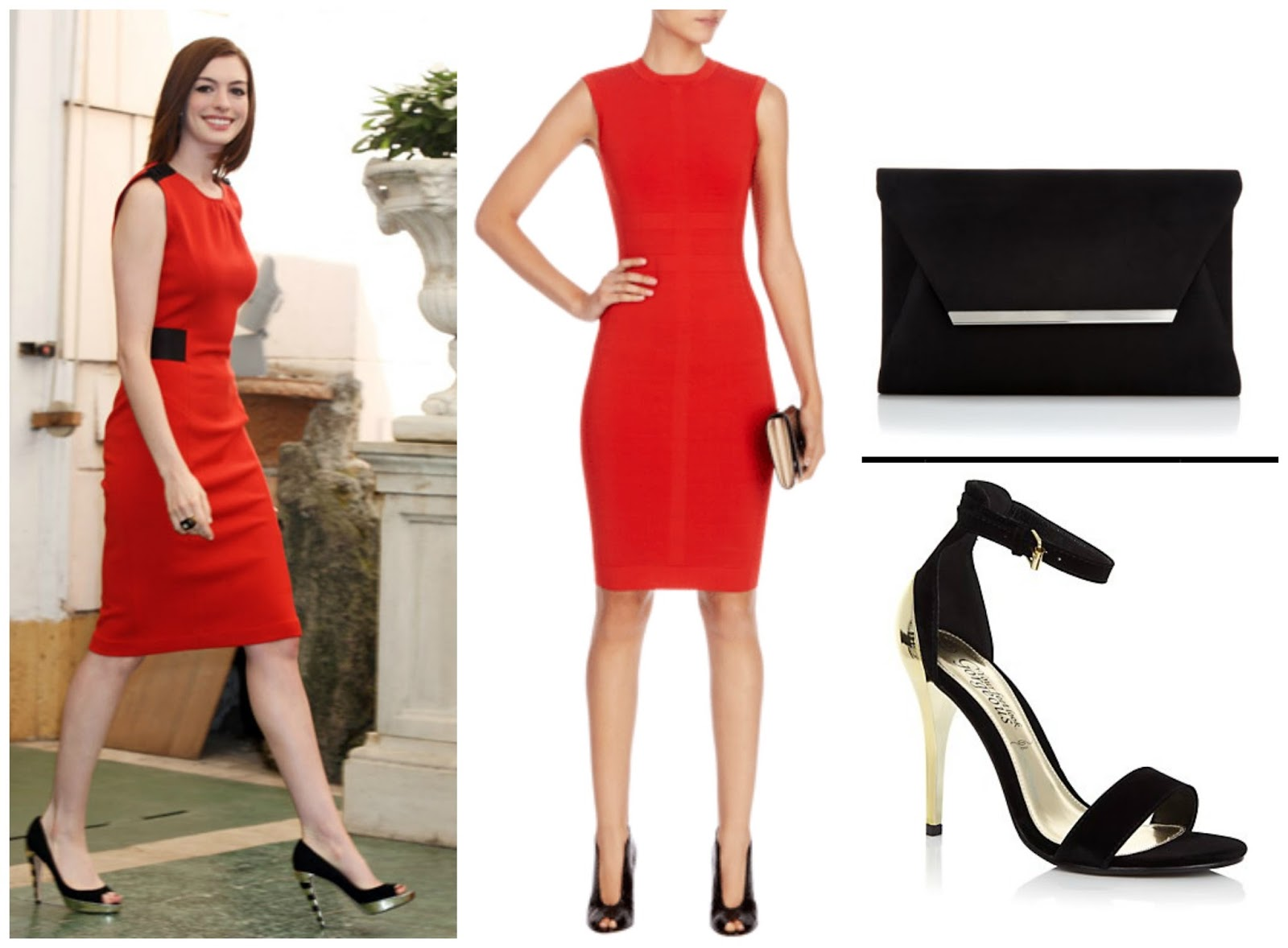 A collage of Anne Hathaway's evening style