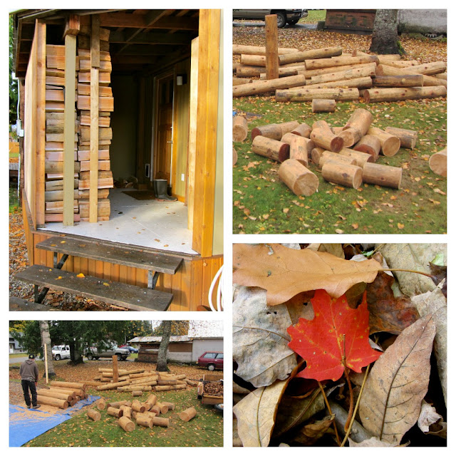 collage of photos including stacked wood pile, wood in pile before being processed for fireplace, fall leaves.