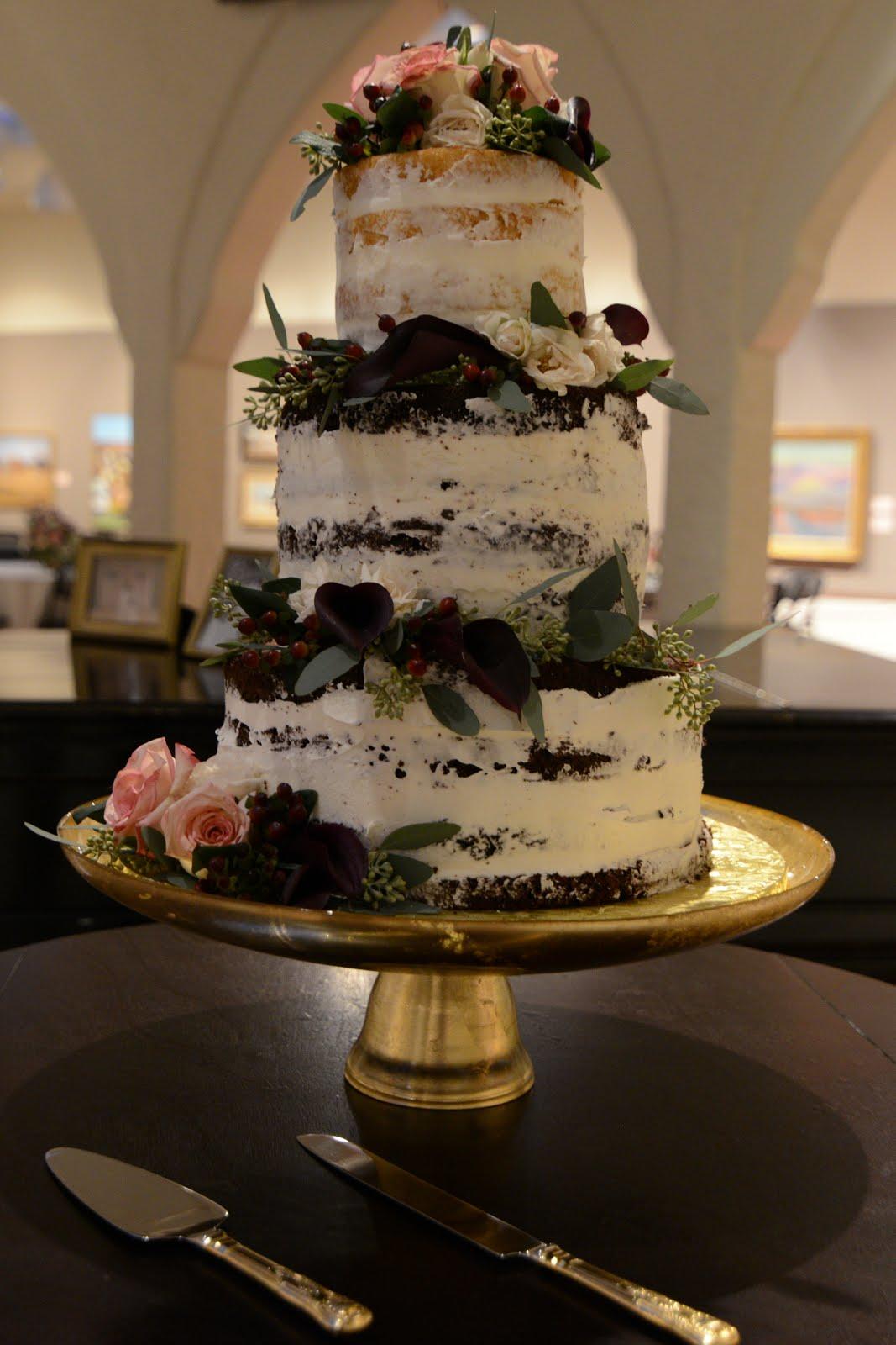 "3-tier round ""naked"" cake"